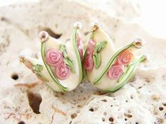 Ivory Flowers Handmade Lampwork Pair by IrinaS on Etsy, $16.00