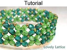 Beading Instructions, Flower Bracelet Beading Pattern, Tutorial, Directions, St Patricks Day, Shamrock, Four Leaf Clover, Spring #1133