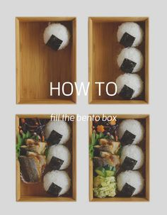 How to fill the bento box 4 steps for the rice balls/onigiri Best Bento Box, Bento Box Lunch For Kids, Kawaii Bento, Cute Bento, Japanese Bento Box, Japanese Food, Japanese Meals, Easy Japanese Recipes, Japanese Sweets