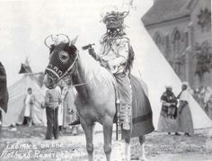 Flathead chief  and horses