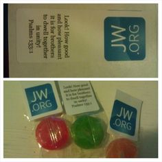Easy last minute gift for the international convention. Printed on addresses labels (text in opposite directions) and fold over edge of candy.