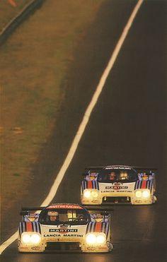 Double Martini. Lancia LC2, Le Mans sunset 1984.