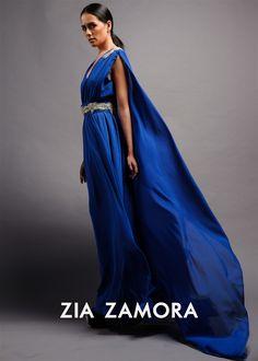 Zia Zamora - Flowing chiffon cape dress