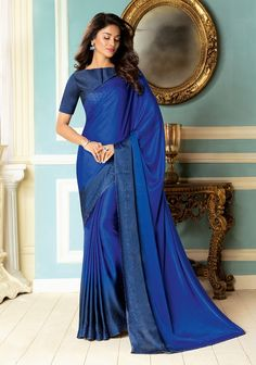 Blue Saree, Fancy Fabric Saree, Buy latest Saree with custom stitching and worldwide shipping. Blue Saree, Latest Sarees, Indian Beauty Saree, Party Wear Sarees, Fabric Design, Sari, Fancy, Clothes For Women, My Style