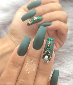 Mat nails are worn for a couple seasons. This is a very beautiful dark green, royal green shade.