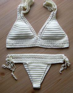 EXPRESS CARGO!!! Crochet cream bikini, 2016 summer trends, women full coverage bottom, women swimwear, crochet bathingsuit / FORMALHOUSE