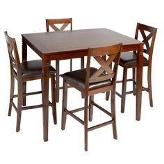 Take your place at the table with this X-back gathering set. Featuring an inlay notch design and cushioned upholstery, our high-top table and chairs create the perfect perch for casual dinners, cocktails, and more.