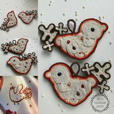 Bird-shaped soutache earrings