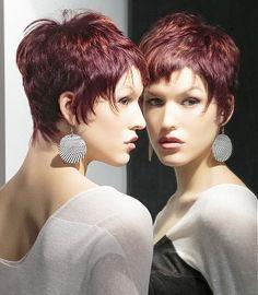 A short brown straight coloured multi-tonal choppy hairstyle by Bundy Bundy