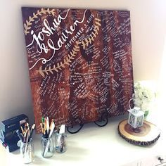 """Forever Fireflying: Wedding: DIY wood """"guestbook"""" sign // guest log 