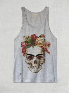Skull Large Grey Tank Top Shirt by tSig36 on Etsy, $14.99