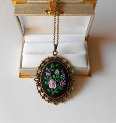Hand Embroidered Pendant Necklace Purple Flower by RedWorkStitches