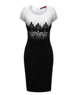 Ericdress Color Block Lace Patchwork Sheath Dress