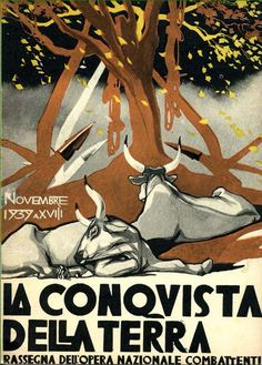 "'woodcuts designed by Cambellotti for the covers of ""The Conquest of the Earth"", a magazine published by the Fascist organization Opera Nazionale"