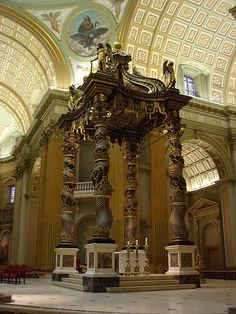 -interior Basilica Mary Queen of the World in Montreal -Aftershock canopy of Bernini in St. Peter's in Rome