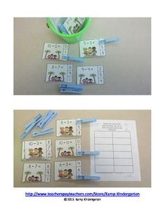 """""""Kids at the Beach"""" Subtraction Math Center (Minuends to 10; free; from Kamp Kindergarten)"""