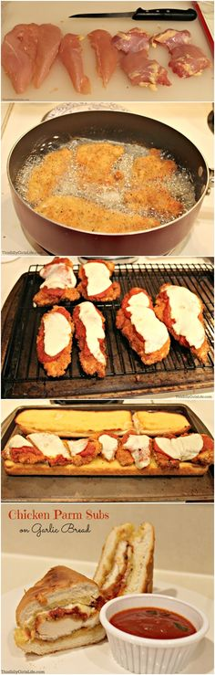 Chicken Parmesan Subs on Garlic Bread, yummy Turkey Recipes, Chicken Recipes, Great Recipes, Favorite Recipes, Sandwiches, Soup And Sandwich, Pasta, Garlic Bread, I Foods