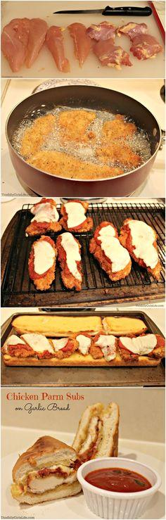 Chicken Parmesan Subs on Garlic Bread