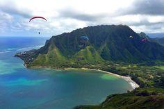 Flying over Kahana Bay on Oahu, Hawaii