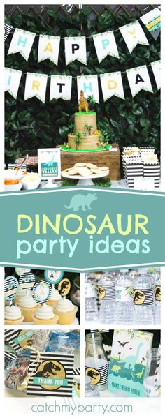 Check out this awesome Jurassic World Dinosaur birthday party! The dessert table is fantastic!! See more party ideas and share yours at CatchMyParty.com
