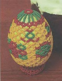 "Beaded Easter Egg ""Fantasy"" PATTERN, this is the technique used for bead egg ""Christ is Risen"" pinned on this board"