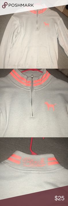 Grey/orange PINK half zip up! Very cute and comfy. Unique colors. PINK Tops Sweatshirts & Hoodies