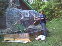 Squirrels, deer, rabbits and other pests are the bane of an edible gardener's existence. But HGTVGardens community member  Joe Ventimiglia  invented a way to keep the garden thieves out: he used old tent poles and chicken wire to create a hinged cage to protect his precious veggies.