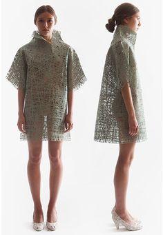 Conceptual Fashion - cocoon dress made using spun & heat-set fibres; innovative fashion design // Jungeun Lee