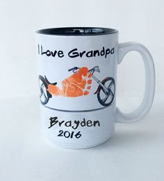Motorcycle Footprint Mug Your Child's by SpecialtyCreations4U