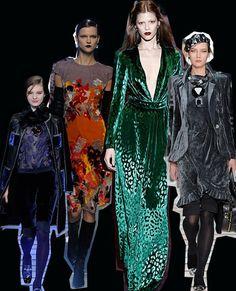 Printed velvet  The thick luxe fabric had a makeover this season, with complex designs, bright colours and prints.  Left to right: Emporio Armani, Bottega Veneta, Gucci, Emporio Armani