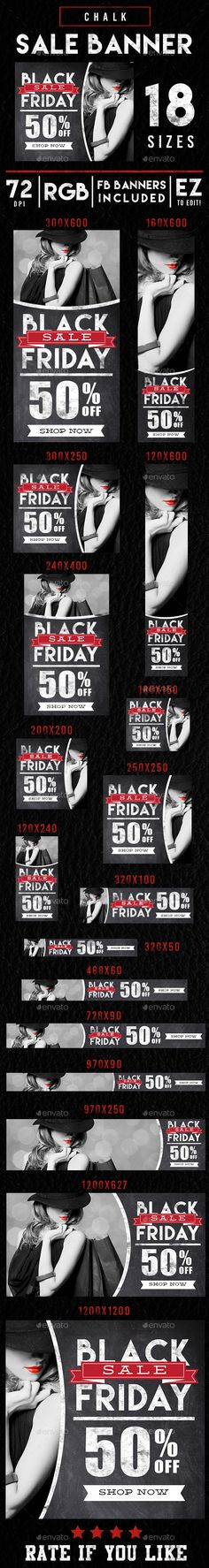 Chalk Black Friday Sales Banner Ads  — PSD Template #glossy #black friday • Download ➝ https://graphicriver.net/item/chalk-black-friday-sales-banner-ads/18160267?ref=pxcr