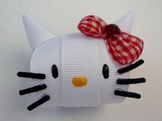Hello Kitty Clip Hair Ribbon Sculpture by TakeABowHandcrafts, $8.50