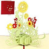 Paper Spiritz Sunflower Pop up Greeting Cards Mothers Day Postcard Thank You Mom Matching Envelope Laser Cut Handmade 3D Birthday Post Card (Pack of 1)