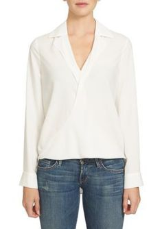 1. State Cloud Collared Drape Front Blouse