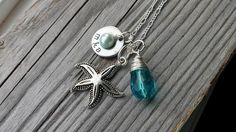 Starfish custom stamped washer with a teardrop glass bead for a pendant. This listing is for ball chain in silver color, however, other chain is