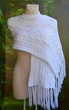 White warm scarf lovely knitted wool by dosiak on Etsy