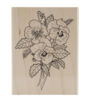 """Penny Black Mounted Rubber Stamp 3.25""""X4.25""""-Pansy Bouquet"""