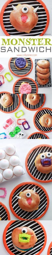 Monster Breakfast Bagel // Eggs inside are dyed bright colors decorated like monsters- fun for a Halloween breakfast! Croissant Sandwich, Bagel Breakfast Sandwich, Healthy Halloween Treats, Halloween Candy, Holiday Treats, Halloween Goodies, Halloween 2015, Roast Beef Sandwich, Halloween Breakfast