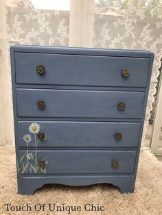 Vintage CHEST Of Drawers Hand Painted Hicks Blue Delivery Available | eBay