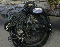 Gothic Steampunk Black and Gold Spider and the Fly Pin Pendant Brooch