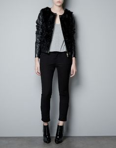 LEATHER AND FUR COMBINED JACKET - Blazers - Woman - ZARA Thailand