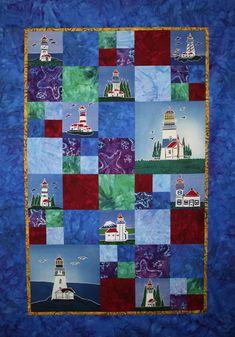 "Lighthouse Quilt uses the lighthouse Batik mini packets and 2- 9"" Batik Paintings and batik fabrics!"