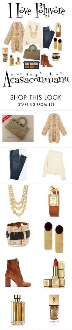"""Elegant gold coloured crochet handbag"" by bamasbabes on Polyvore featuring Joseph, Marco Bicego, Tory Burch, Alexis Bittar, Silhouette, Prada, Guerlain and Yves Saint Laurent"
