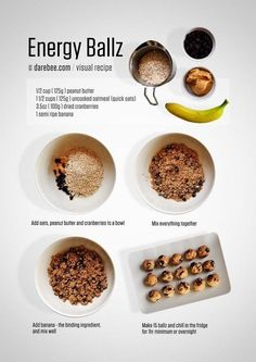Combine 1/2 cup of peanut butter, 1 1/2 cups of uncooked quick oats, about a 1/4 cup of dried cranberries, and 1 banana, and mix well. Shape them into balls and refrigerate. Voilà: Oatmeal, fruit, and peanut butter that make a damn good (and hearty) way to start the day. Get the recipe here.