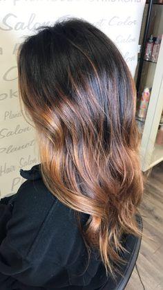 Dark brown to Carmel balayage