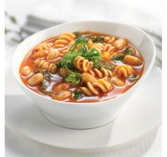 Pasta and Bean Soup: PC 8 Vegetable Cocktail is your short-cut to a fabulous soup, brimming with vegetable flavour. Whole wheat pasta and beans add fibre and make this a meal. Soup Recipes, Great Recipes, Cooking Recipes, Pasta Soup, Gourmet Burgers, Whole Wheat Pasta, High Fiber Foods, Bean Soup, Daily Meals