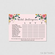 Scattergories Game - Floral Scattergories - Game - Pink Bridal Shoer - Printable Bridal Shower Scattergories Game 0001P