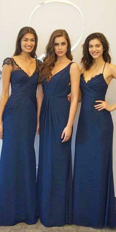 12 Breathtaking Navy Bridesmaid Dresses ❤ v neck navy bridesmaid dresses hayley paige occasions Full gallery: https://weddingdressesguide.com/navy-bridesmaid-dresses/