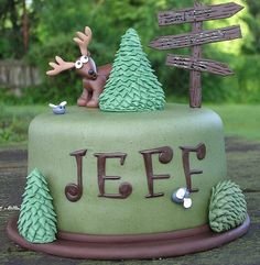 hunting theme cake-- Now I have finally found a cake I could adapt to the rock climbing party theme and actually like. :)