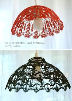 Red and Black crochet lamp Crochet Decoration, Crochet Home Decor, Crochet Crafts, Crochet Projects, Lampe Crochet, Crochet Lampshade, Crochet Doilies, Diy Lampe, Doilies Crafts